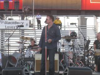 Bono during sound check at Friday's 360 Tour performance at Sam Boyd Stadium.