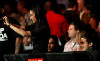 Demi Moore and Ashton Kutcher in the front row Saturday night during UFC 104 at Staples Center in Los Angeles.
