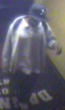 Surveillance video image of a man wanted in a weekend casino robbery.