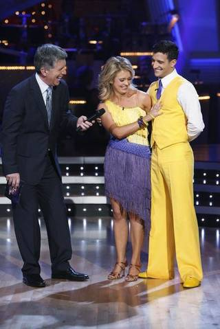 Tom Bergeron interviews Melissa Joan Hart and Mark Ballas on Dancing With the Stars.