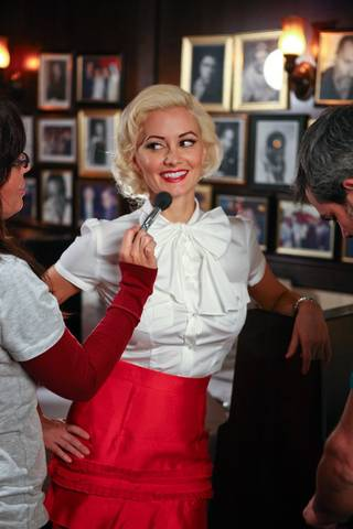 Holly Madison on the set of her photo shoot with Jim Decker for the cover of Luxury Las Vegas at Rao's in Caesars Palace, Oct. 29, 2009.