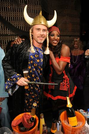 <em>True Blood</em> stars Sam Trammell and Rutina Wesley host the Halloween party at Lavo in the Palazzo on Oct. 31, 2009.