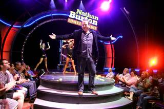 Comedic magician Nathan Burton performs during his afternoon show at the Flamingo Wednesday, November 4, 2009.