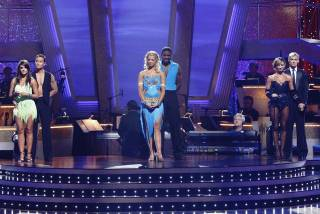 The bottom three couples -- Lacey Schwimmer, Mark Dacascos, Anna Demidova, Michael Irvin, Karina Smirnoff and Aaron Carter -- on Dancing With the Stars.