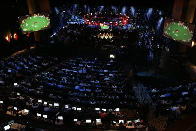 A packed Penn and Teller Theater watches the final table of the 2009 World Series of Poker Saturday, November 7, 2009 at the Rio.