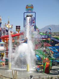 Over a thousand gallons of water pour out of a giant bucket onto the grounds of a Utah Cowabunga water park. (Courtesy Photos)