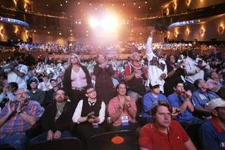 Fans cheer before the start of the final table of the 2009 World Series of Poker Saturday, Nov. 7, 2009 at the Rio in Las Vegas.