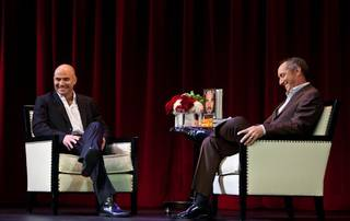 Andre Agassi discusses his memoir Open: An Autobiography with ESPN's Rick Reilly at the Encore Theater at the Wynn on Nov. 9, 2009.