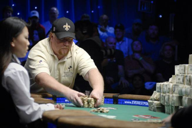 Darvin Moon pushes all-in during the main event of the World Series of Poker at the Rio. Moon is one of 63 players entered in the sixth annual National Heads-Up Poker Championship this weekend at Caesars Palace.