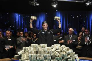 Joe Cada celebrates after winning the 2009 World Series of Poker at The Rio.