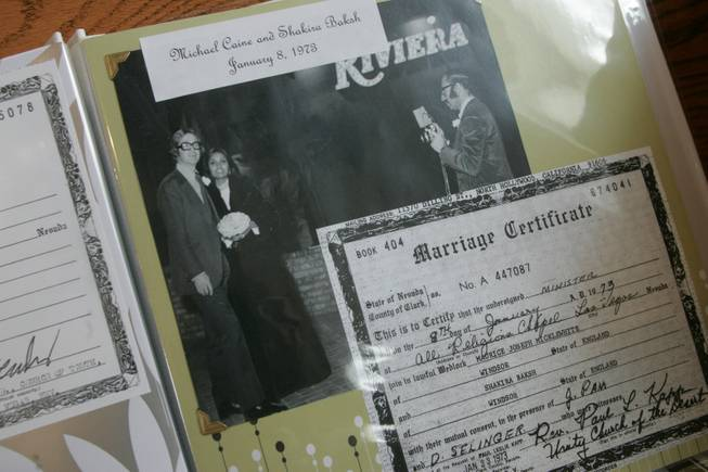 A photo and copy of Michael Caine and Shakira Baksh's marriage certificate are on display at the Candlelight Wedding Chapel, formerly located just north of the Riviera Hotel on Las Vegas Boulevard and now at the Clark County Museum.