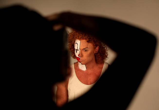 "In his show at Atrium Showroom, Scott Thompson (known as Carrot Top onstage) refers to himself as a ""mean clown."" For his <em>Las Vegas Weekly</em> cover story, he sat for a photo session in which half his face was painted as a clown. Here is the process."