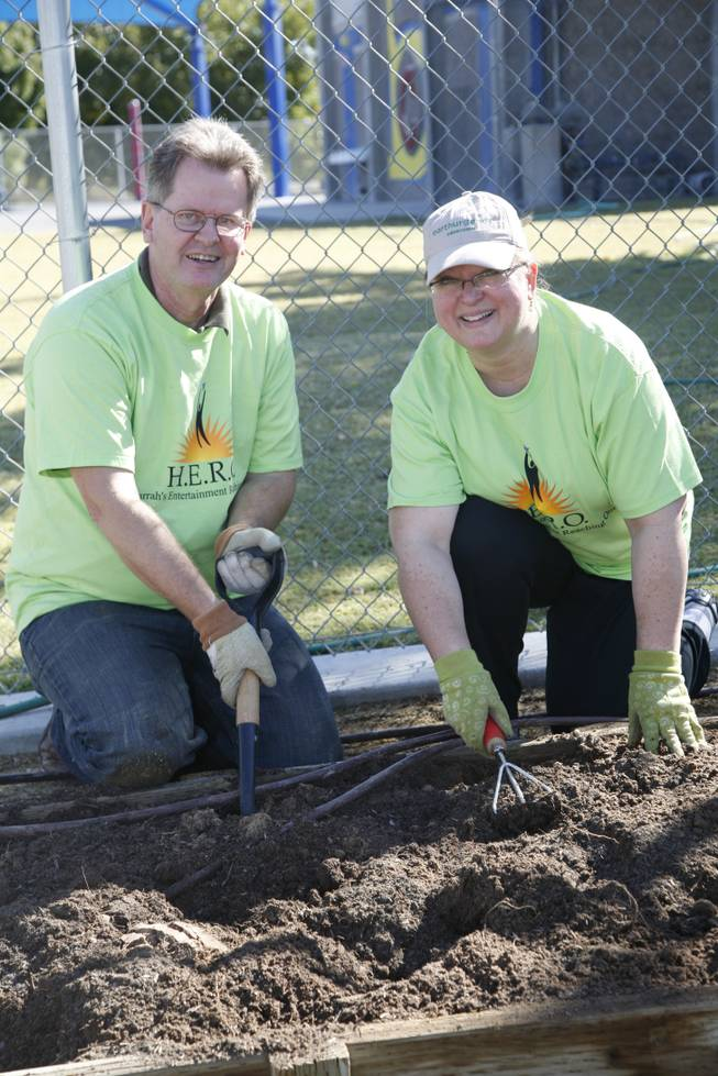 Second grade teacher Fred Koopmann and volunteer Ellen Guise, an IT business analyst for Harrah's Entertainment, work to make an edible garden for George E. Harris Elementary School students. The event was part of Nevada's Make a Difference Day.
