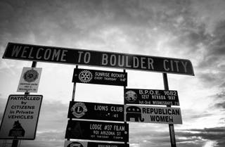 A sign on U.S. 93 welcomes travelers to Boulder City on Friday, Nov. 13, 2009.