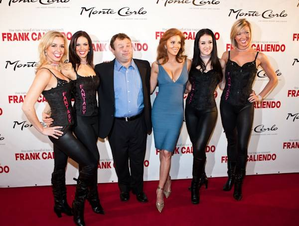 Frank Caliendo, Angelica Bridges and the <em>Fantasy</em> girls at Frank's grand opening at the Monte Carlo on Nov. 13, 2009.