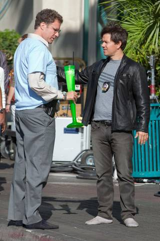 Will Ferrell and Mark Wahlberg on the set of The Other Guys at the Flamingo on Nov. 14, 2009.