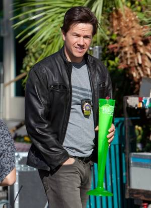 Mark Wahlberg on the set of <em>The Other Guys</em> at the Flamingo on Nov. 14, 2009.