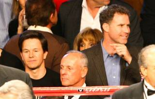 Mark Wahlberg and Will Ferrell at the Manny Pacquiao and Miguel Cotto fight at MGM Grand Garden Arena on Nov. 14, 2009.