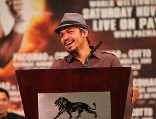 Manny Pacquiao at the Manny Pacquiao-Miguel Cotto post-fight pressroom at the MGM Grand Garden Arena on Nov. 14, 2009.