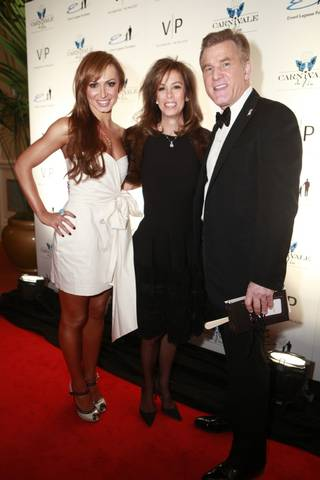 Karina Smirnoff, Cheryl Goldstein and Rob Goldstein at Carnival du Vin in the Palazzo.