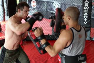 Forrest Griffin workouts out at Warrior Gym in Las Vegas in preparation for his UFC  106 fight against Tito Ortiz Saturday.