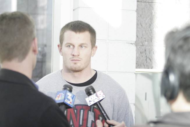 UNLV senior receiver Ryan Wolfe answers questions from reporters on Monday, Nov. 16, 2009, after now-fired head coach Mike Sanford met with the media at the Lied Athletic Complex.