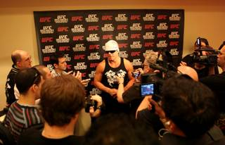 Tito Ortiz answers questions Wednesday during open workouts at Mandalay Bay in preparation for his fight at UFC 106 Saturday where he will take on Forrest Griffin.