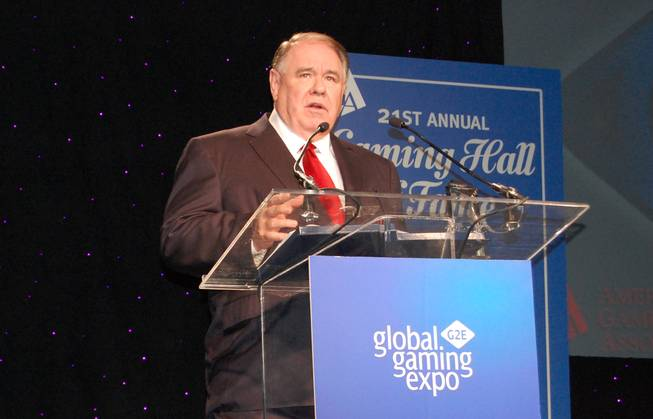 South Point owner Michael Gaughan speaks at his American Gaming Association Hall of Fame induction at the Global Gaming Expo in November.