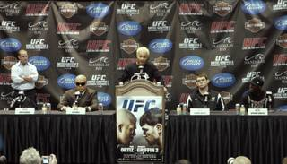 Josh Koscheck talks about his upcoming bout against Anthony Johnson at a news conference before UFC 106 Thursday, November 19, 2009.
