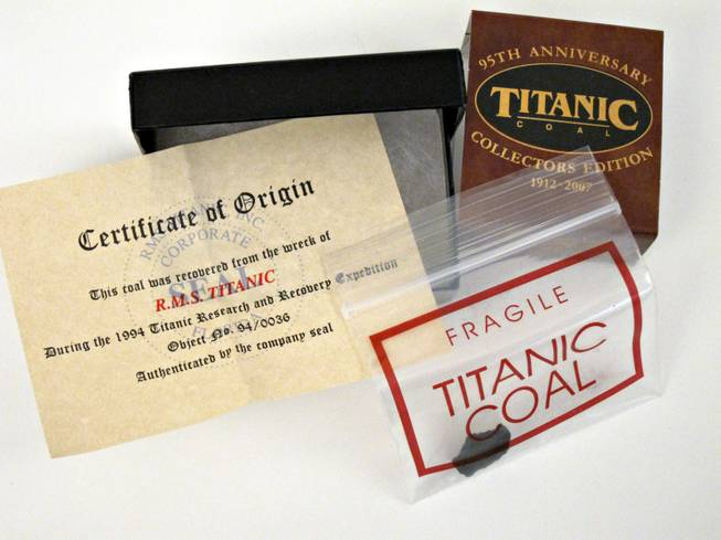 8. 95th anniversary collector's edition of a small piece of Titanic coal in a small gift box. (Retail $36)