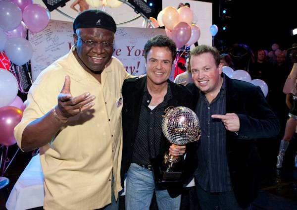 George Wallace, Donny Osmond and Nathan Burton during Donny's return to the Flamingo with his champion's mirrored disco ball trophy on Nov. 25, 2009, after his win on ABC's <em>Dancing With the Stars</em> with Kym Johnson on Tuesday night.