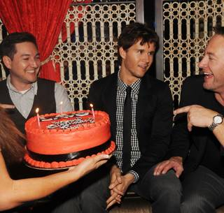 Ryan Kwanten, middle, celebrates his 33rd birthday with friends at Lavo in the Palazzo on Nov. 28, 2009.