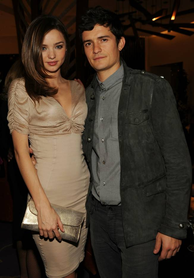 Miranda Kerr and Orlando Bloom at the <em>Vanity Fair</em> party for the grand opening of Vdara Hotel & Spa at CityCenter on Dec. 1, 2009.