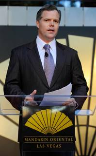 MGM Mirage Chairman and CEO Jim Murren speaks at the grand opening of the Mandarin Oriental Las Vegas at CityCenter on Dec. 4, 2009.
