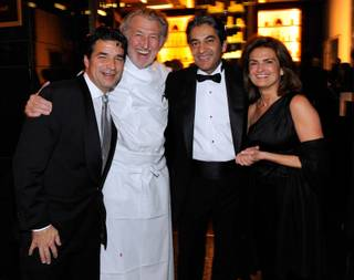 Mandarin Oriental Hotel Group Executive Richard Baker, chef Pierre Gagnaire, Mandarin Oriental Las Vegas General Manager Rajesh Jhingon and Sylvie Gagnaire attend the opening night gala for the Mandarin Oriental Las Vegas at CityCenter Dec. 4, 2009.