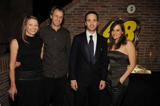Lhotse Hawk, Tony Hawk, Jimmie Johnson and Kara DioGuardi attend the NASCAR Sprint Cup Series Champion's Party at Lavo in the Palazzo on Dec. 4, 2009.