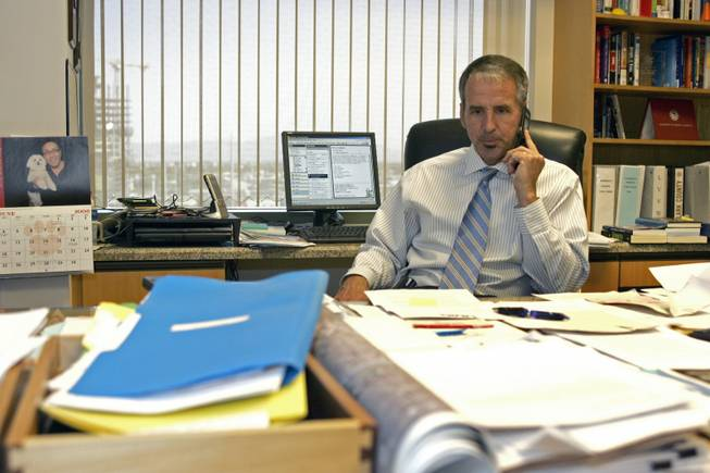 Thom Reilly, shown as Clark County manager in 2006, says county employee unions have only agreed to lessen their salary increases.