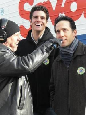 Spence of the Morning Zoo with Peter Saide and Jeff Leibow of <em>Jersey Boys</em>.