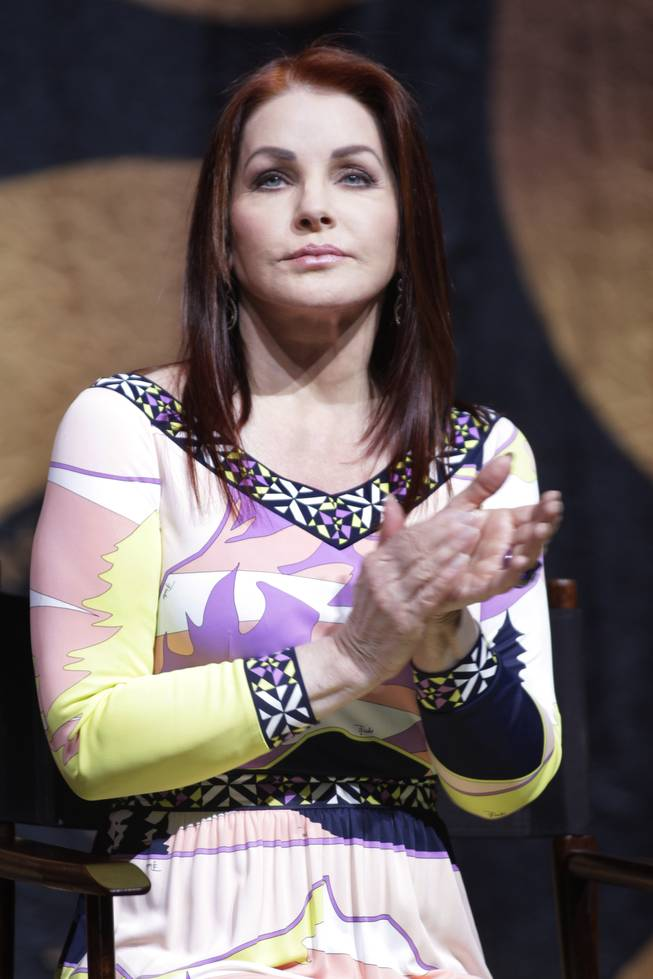 Priscilla Presley attends a news conference for the new <em>Viva Elvis</em> show by Cirque du Soleil at Aria on Dec. 15, 2009.