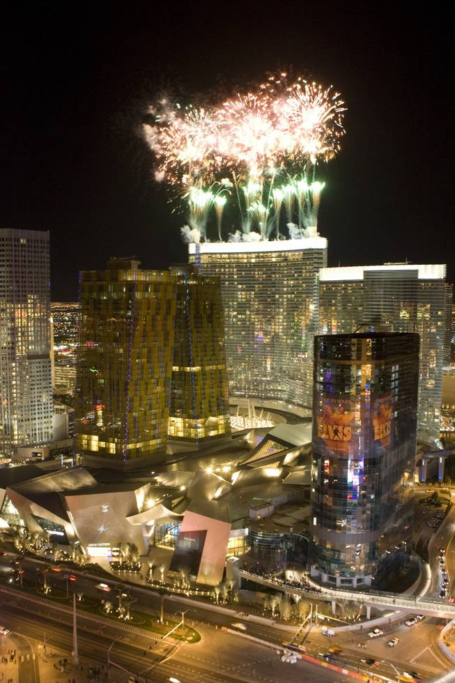 Fireworks explode over the Aria hotel-casino during the official opening Wednesday, Dec. 16, 2009. Aria is the centerpiece of the $8.5 billion CityCenter project, which is a partnership between MGM Mirage and Dubai World.