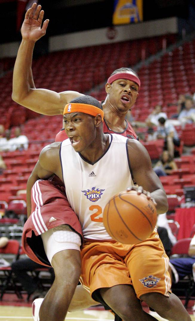 The Phoenix Suns' Marcus Banks drives to the basket during an NBA Summer League game at the Thomas & Mack Center.