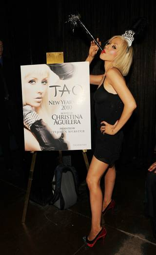 Christina Aguilera hosts New Year's Eve at Tao in The Venetian on Dec. 31, 2009.