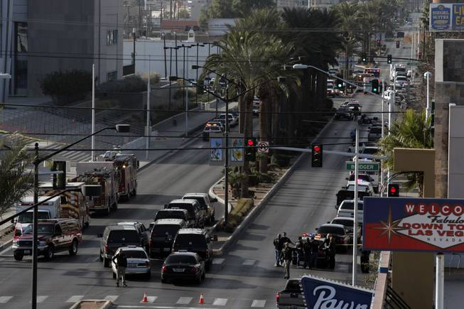 Las Vegas Boulevard is seen Monday, January 4, 2010 after a shooting at the Lloyd D. George Federal Courthouse that left a court security officer dead and another seriously wounded.