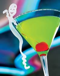 Ghostbar's signature cocktail, the Ghostini. <strong>Ingredients:</strong> 1.5 ounces Russian Standard vodka, 1.5 ounces Midori melon liqueur, 1 ounce fresh sweet and sour mix. <strong>Directions: </strong> Mix the above ingredients in an ice-filled mixing tin, shake and strain into a chilled martini glass. Garnish with a cherry and, if you're ambitious enough, a plastic ghost.