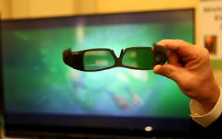 Mitsubishi unveils its new 3D televisions at the CES Unveiled event Tuesday at the Venetian.