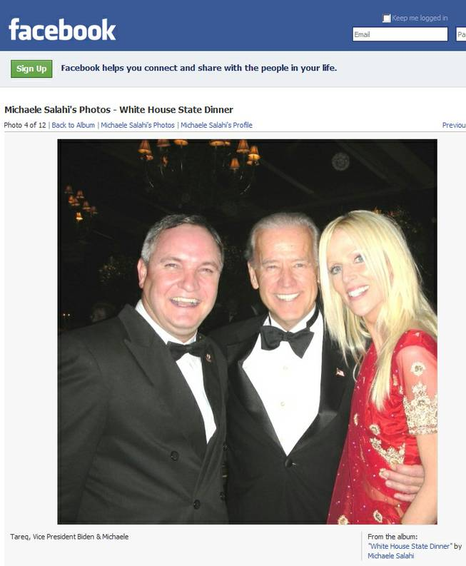 Tareq and Michaele Salahi crashed an invitation-only White House dinner last fall and posted their pictures from the event - including this one with vice president Joe Biden - on Facebook. The couple will host a party Jan. 16 at Pure Nightclub.