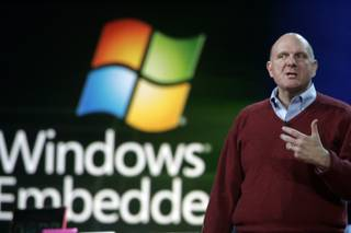 Microsoft CEO Steve Ballmer speaks Wednesday during the keynote address at the Consumer Electronics Show at the Hilton Center.