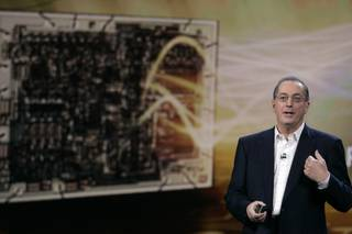 Paul Otellini, president and CEO of Intel Corp. speaks during his keynote address during the 2010 International Consumer Electronics Show at the Hilton Center in Las Vegas Thursday, January 7, 2010.