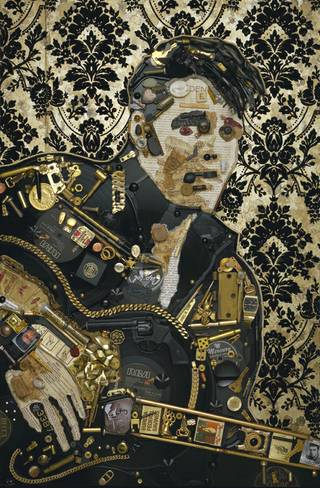 Jason Mecier's mosaic portrait of Elvis.