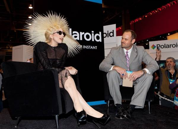 Lady Gaga at the announcement of her new position as creative director for Polaroid at the Polaroid booth at CES 2010 on Jan. 7, 2010.
